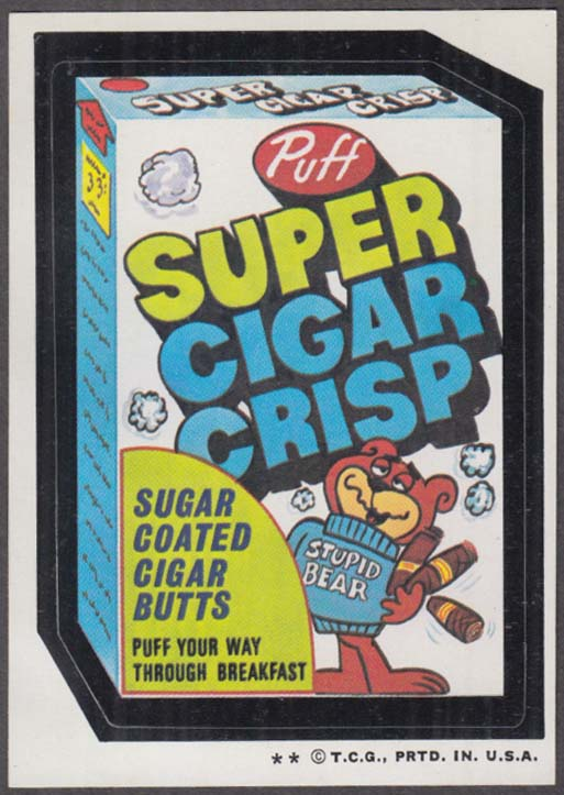 Topps Wacky Packages Puff SUPER CIGAR CRISP 1974 two * version