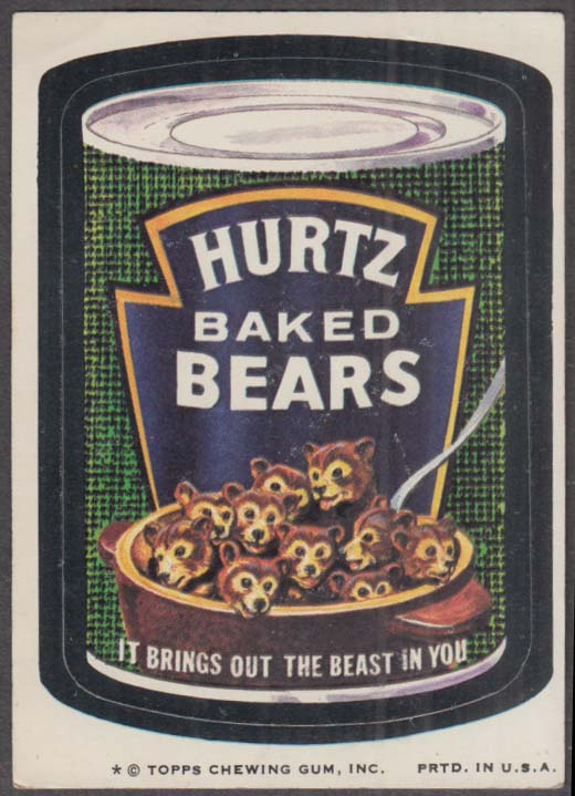 Topps Wacky Packages HURTZ BAKED BEARS 1974 one * version