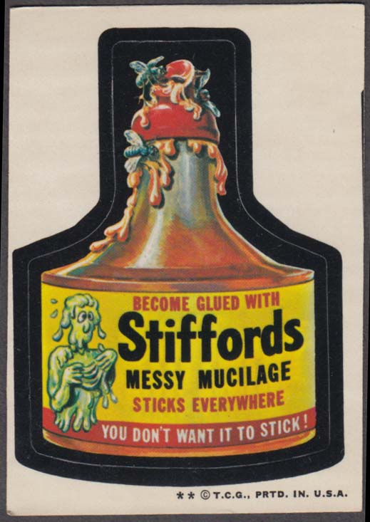 Topps Wacky Packages STIFFORDS Messy Mucilage 1973-1974 two * version