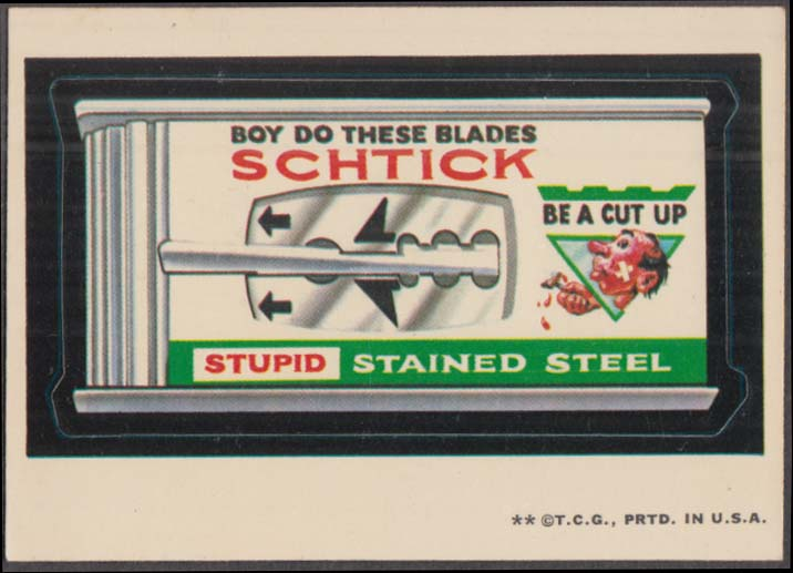 Topps Wacky Packages SCHTICK Stupid Stained Steel 1973 two * version white back