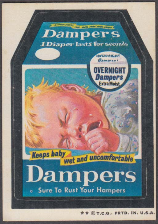 Topps Wacky Packages DAMPERS Diapers 1973 two * version