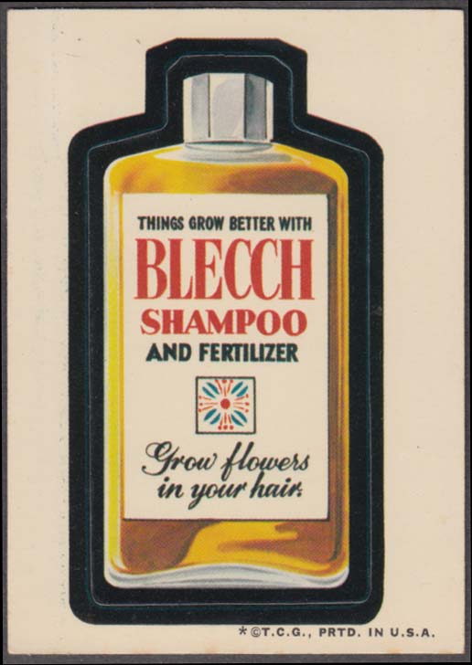 Topps Wacky Packages BLECCH Shampoo & Fertilizer 1973 one * version white back