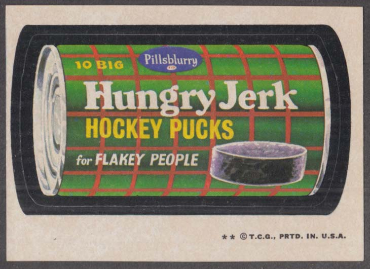 Topps Wacky Packages Pillsblurry HUNGRY JERK Hockey Pucks 1973-4 two * version