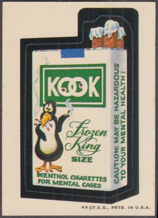 Topps Wacky Packages KOOK Cigarettes 1973 two * version, white back
