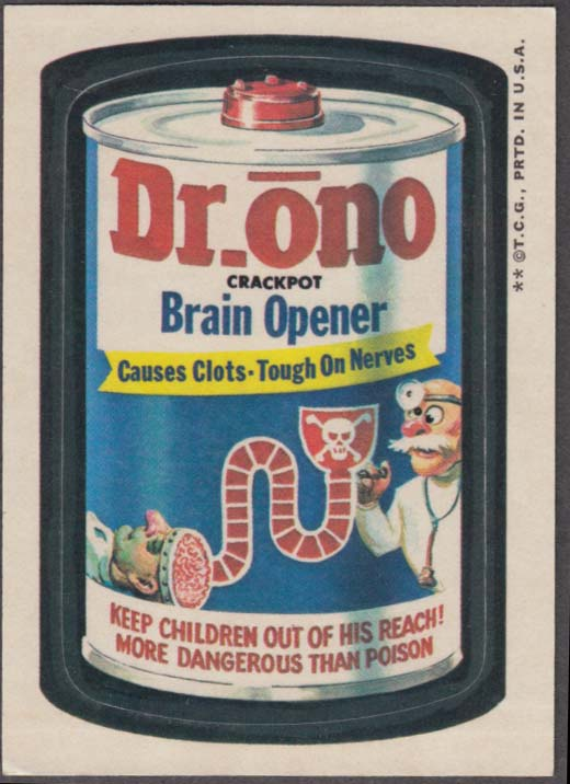 Topps Wacky Packages DR ONO Brain Opener 1973 two * version