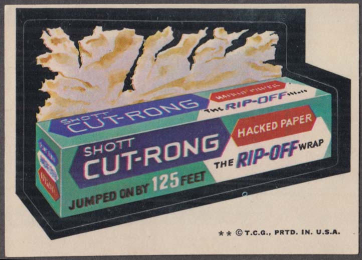Topps Wacky Packages Shott CUT-RONG Hacked Paper 1974 two * version