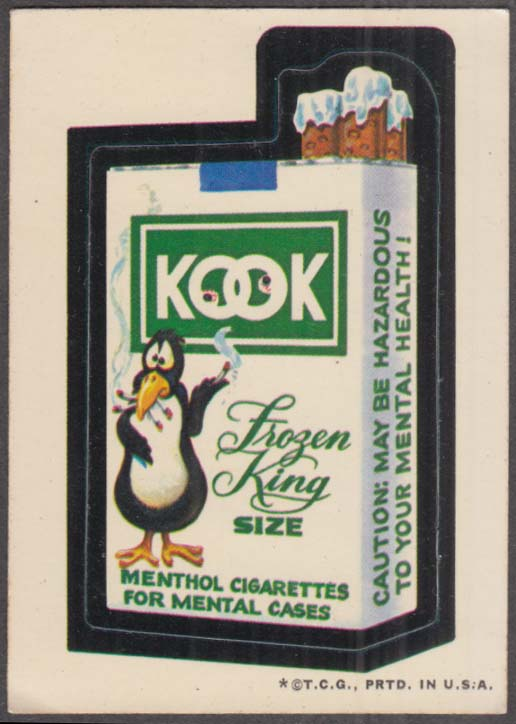 Topps Wacky Packages KOOK Cigarettes 1973 one * version, white back
