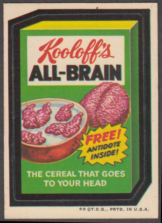 Topps Wacky Packages Kooloff's ALL-BRAIN Cereal 1973 - two *, white back
