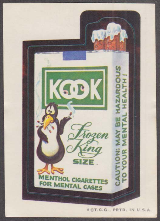 Topps Wacky Packages KOOK Cigarettes 1973 one * version tan back