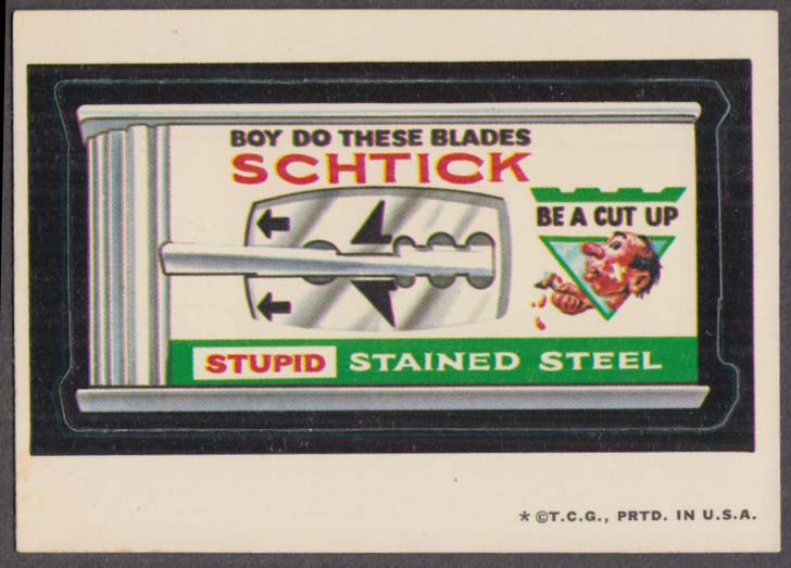 Topps Wacky Packages SCHTICK Stupid Stained Steel 1973 one * version white back