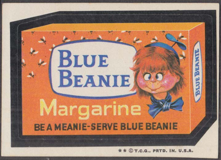 Topps Wacky Packages BLUE BEANIE Margarine 1973 two * version