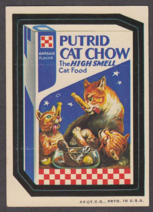 Topps Wacky Packages PUTRID CAT CHOW 1973 two * version, white back