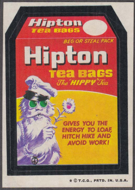 Topps Wacky Packages HIPTON Tea Bag for Hippies 1973 one * version.