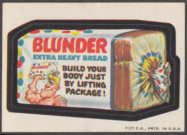 Topps Wacky Packages BLUNDER Extra Heavy Bread 1973 one * version tan back