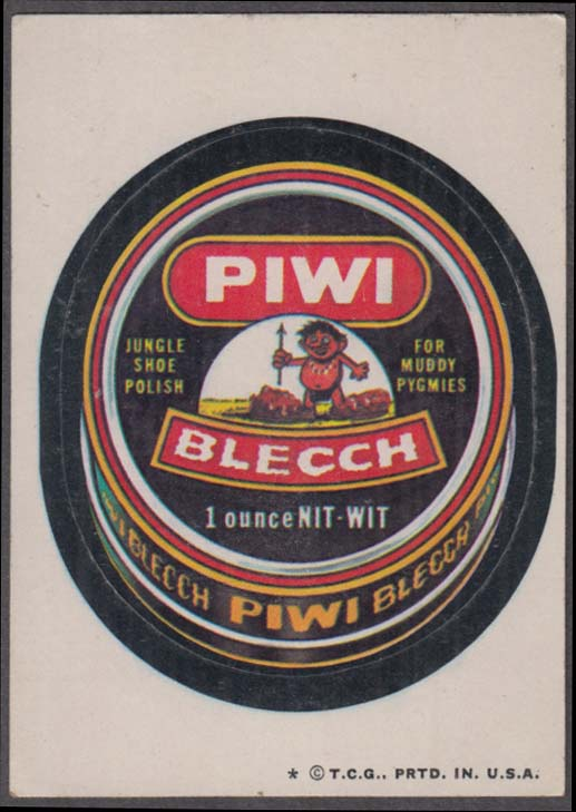 Topps Wacky Packages PIWI BLECCH Jungle Shoe Polish 1974 one * version