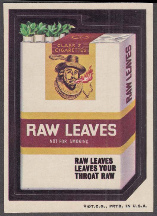 Topps Wacky Packages RAW LEAVES Cigarettes 1973 one * version