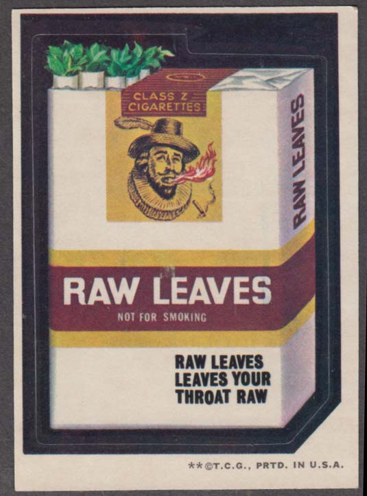 Topps Wacky Packages RAW LEAVES Cigarettes 1973 two * version