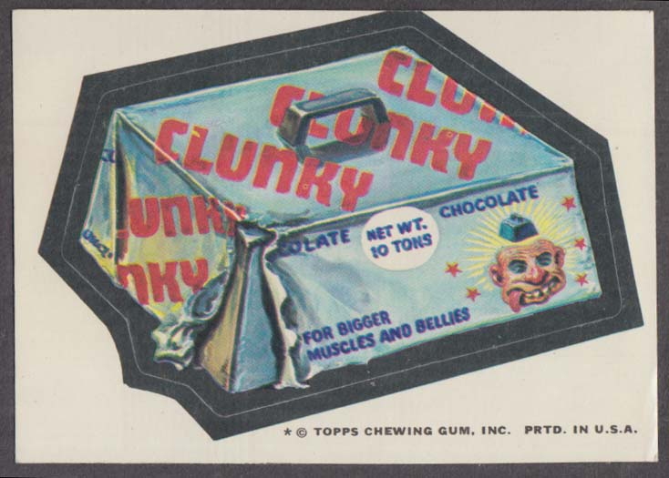 Topps Wacky Packages CLUNKY Candy Bar 1974 one * version.