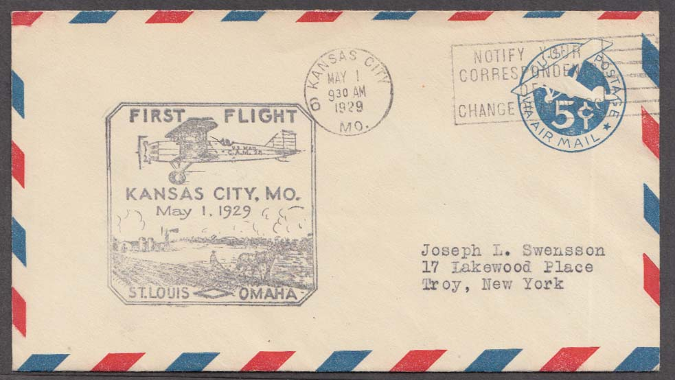 US Air Mail 1st Flight cachet cover Kansas City-St Louis-Omaha 1929