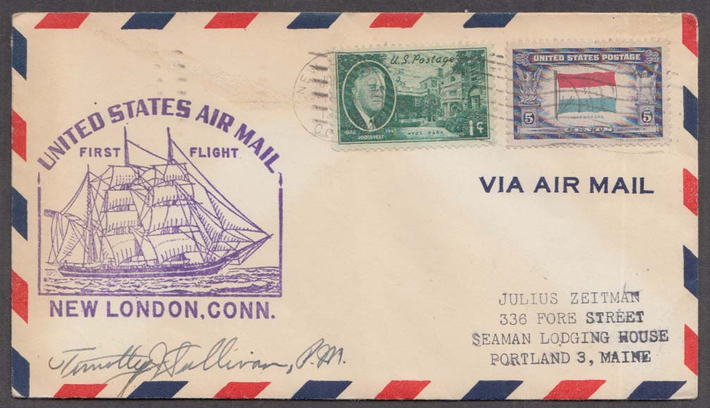 US Air Mail 1st Flight cachet cover New London-New Bedford 1950