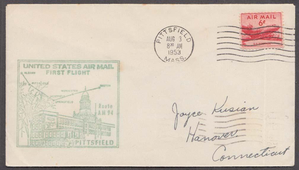 US Air Mail 1st Flight cachet cover Pittsfield MA-Albany NY 1953