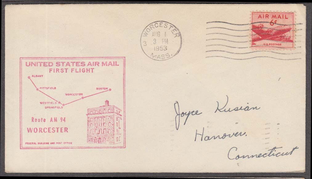 US Air Mail 1st Flight cachet cover Worcester-Boston cancel 1953