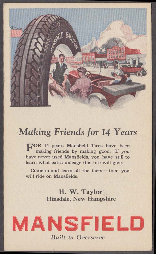 Mansfield Balloon Tires Making Friends postcard H W Taylor Hinsdale MA 1920s