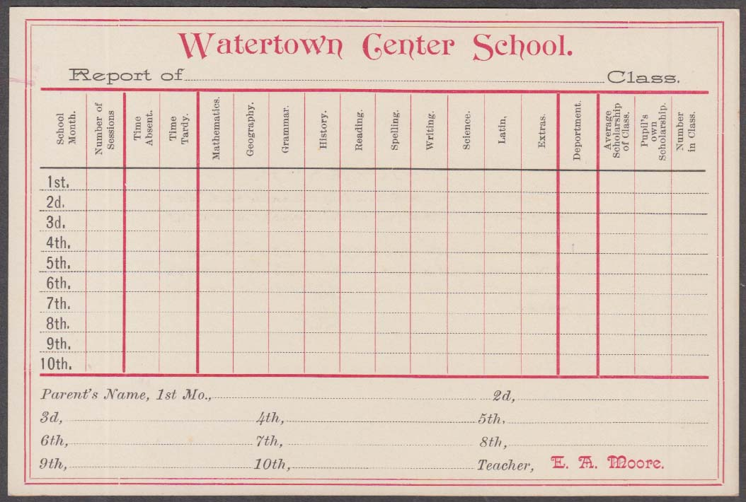 Watertown Center School unused report card 1920s probably Massachusetts