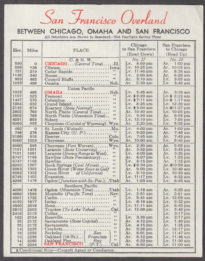 C&NW Union Pacific Southern Pacific San Francisco Overland timetable 1949