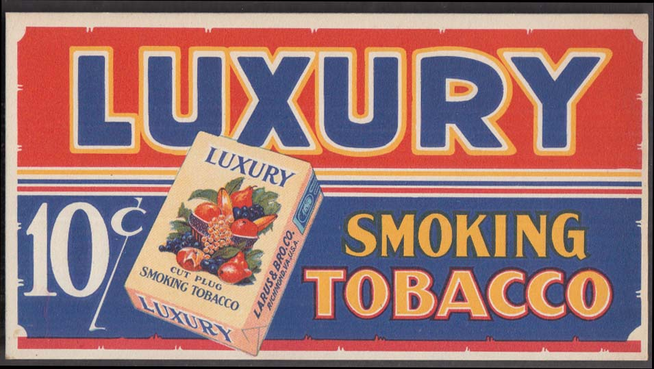 Luxury Cut Plug Smoking tobacco advertising blotter 1930s