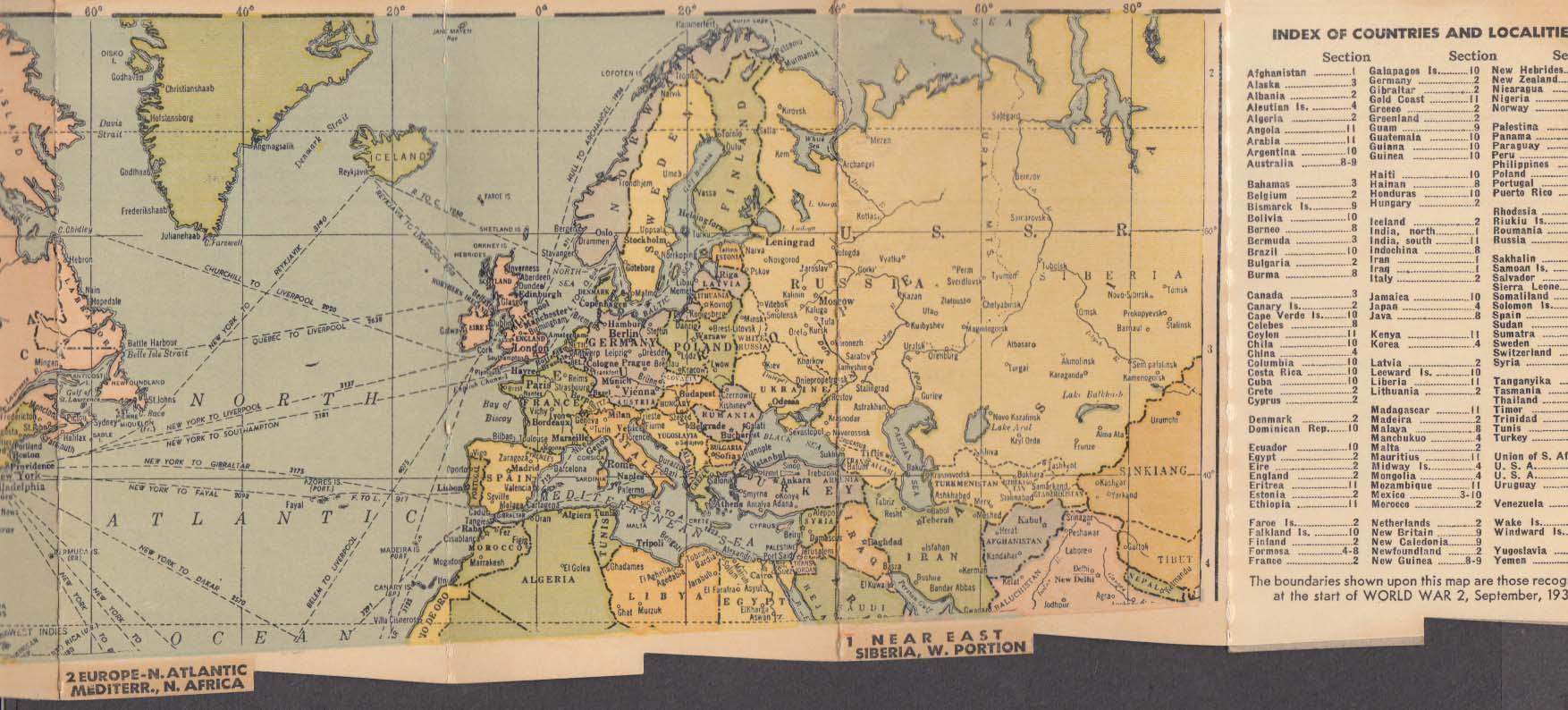 Bis-Kay Port & Sherry Bisceglia Bros Phila World at a Glance folding map 1939