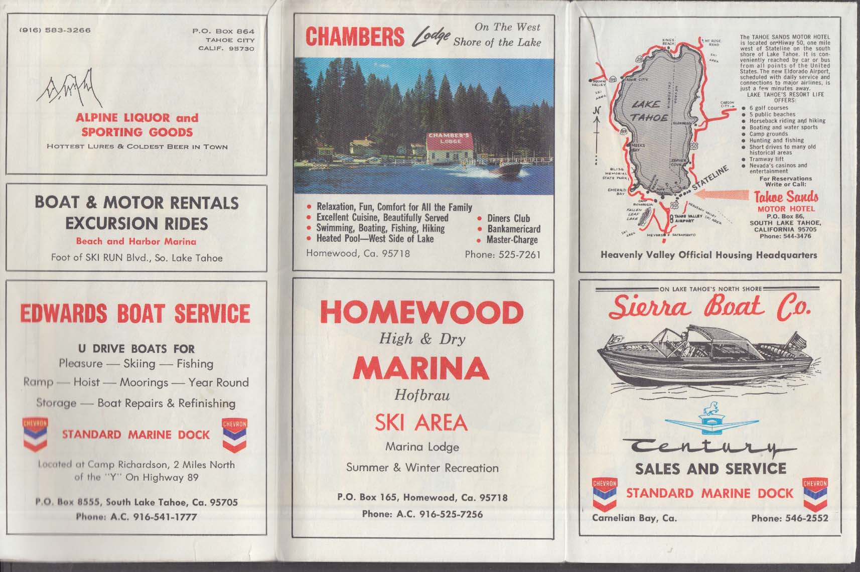 Weekend Outdoor Map Lake Tahoe Recreational Area 1960s 2nd revised edition