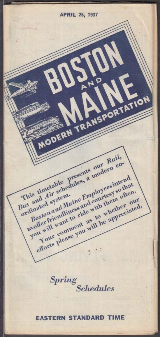 Boston & Maine Railroad Bus & Airline Schedules 4/25 1937