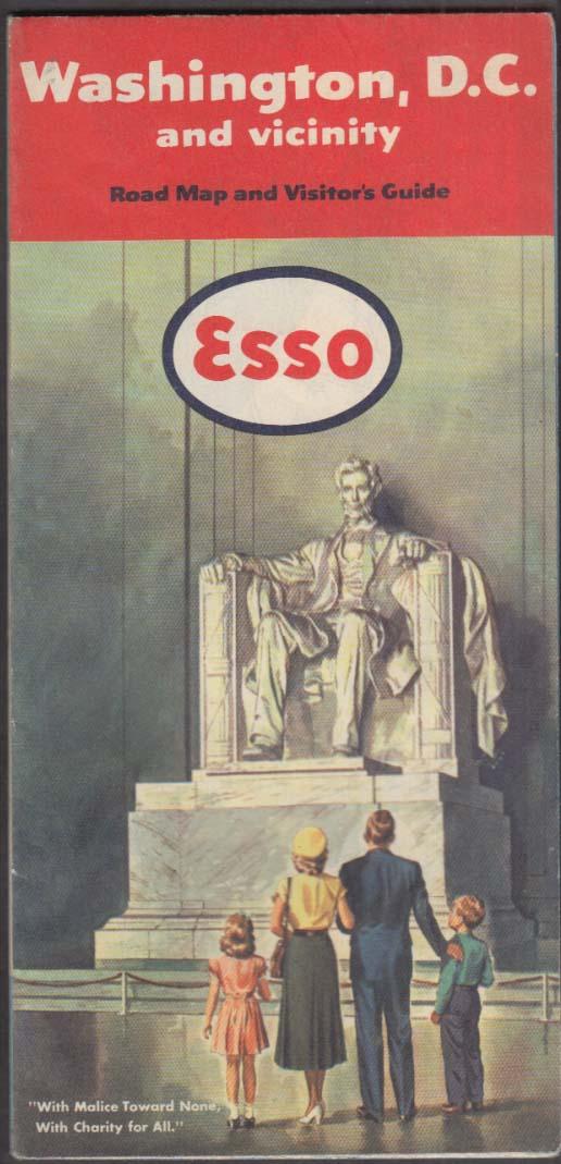 Esso Gasoline Road Map Washington DC & Vicinity 1951