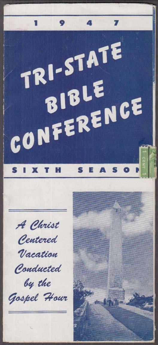 Tri-State Bible Conference information folder mailer 1947 Irvington NJ