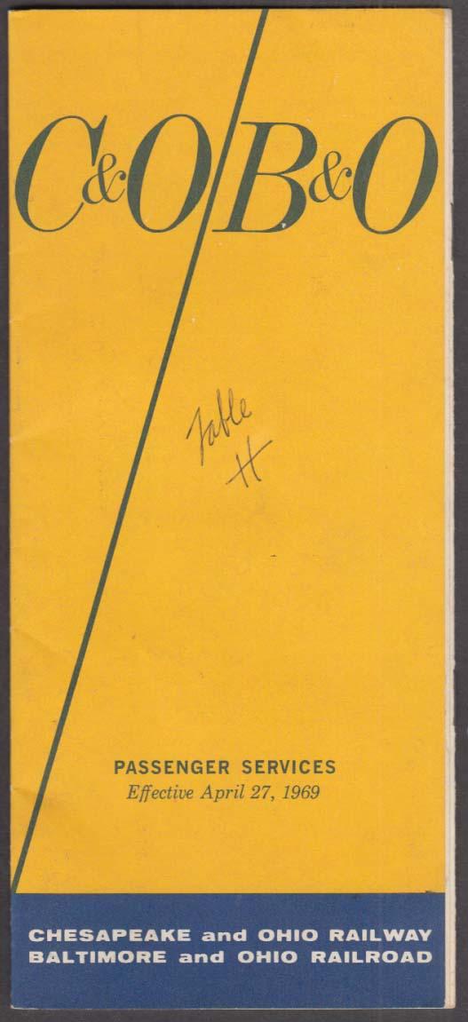 Chesapeake & Ohio Baltimore & Ohio RR Timetable 4/27 1969