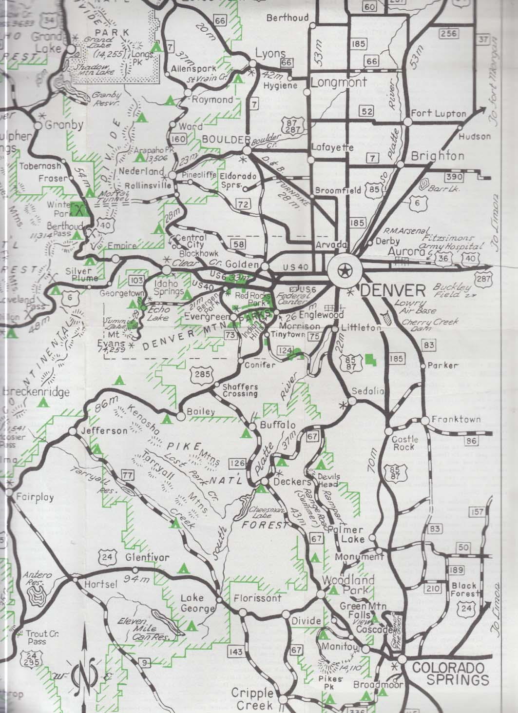 Denver Convention & Visitors Bureau Mountain Trip Map 1960s