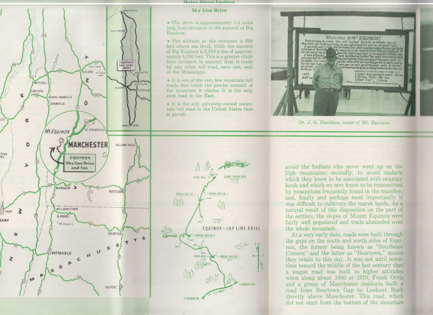 Equinox Sky Line Drive & Sky Line Inn brochure 1950s Manchester VT
