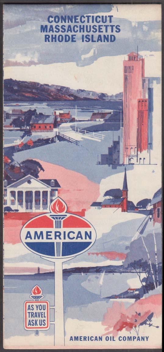 American Oil Gasoline Road Map Connecticut Massachusetts Rhode Island 1963