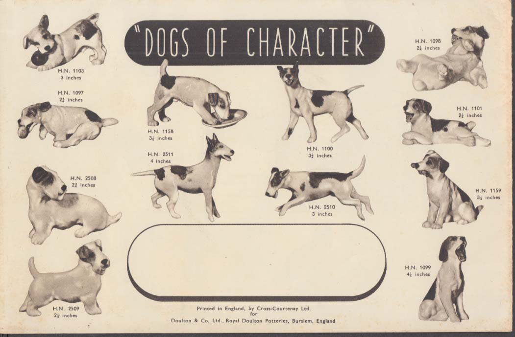 Royal Doulton Dog Models Pedigree in Pottery sales folder ca 1930s