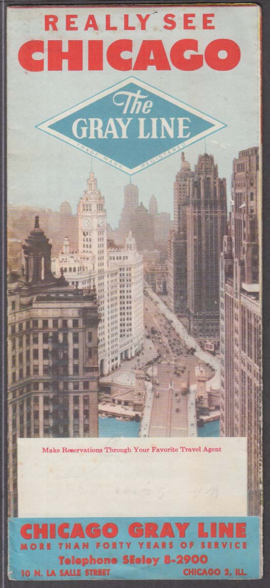 Really See Chicago Gray Bus Line Tours folder & map 1954