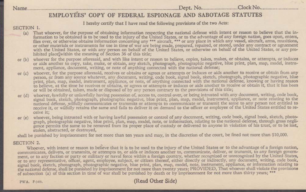Federal Espionage & Sabotage Statures Employees' Copy 1949