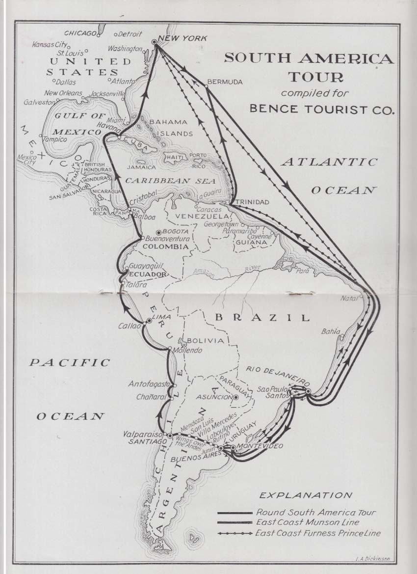 Bence Tourist Summer in South America 4 Conducted Tours brochure 1936