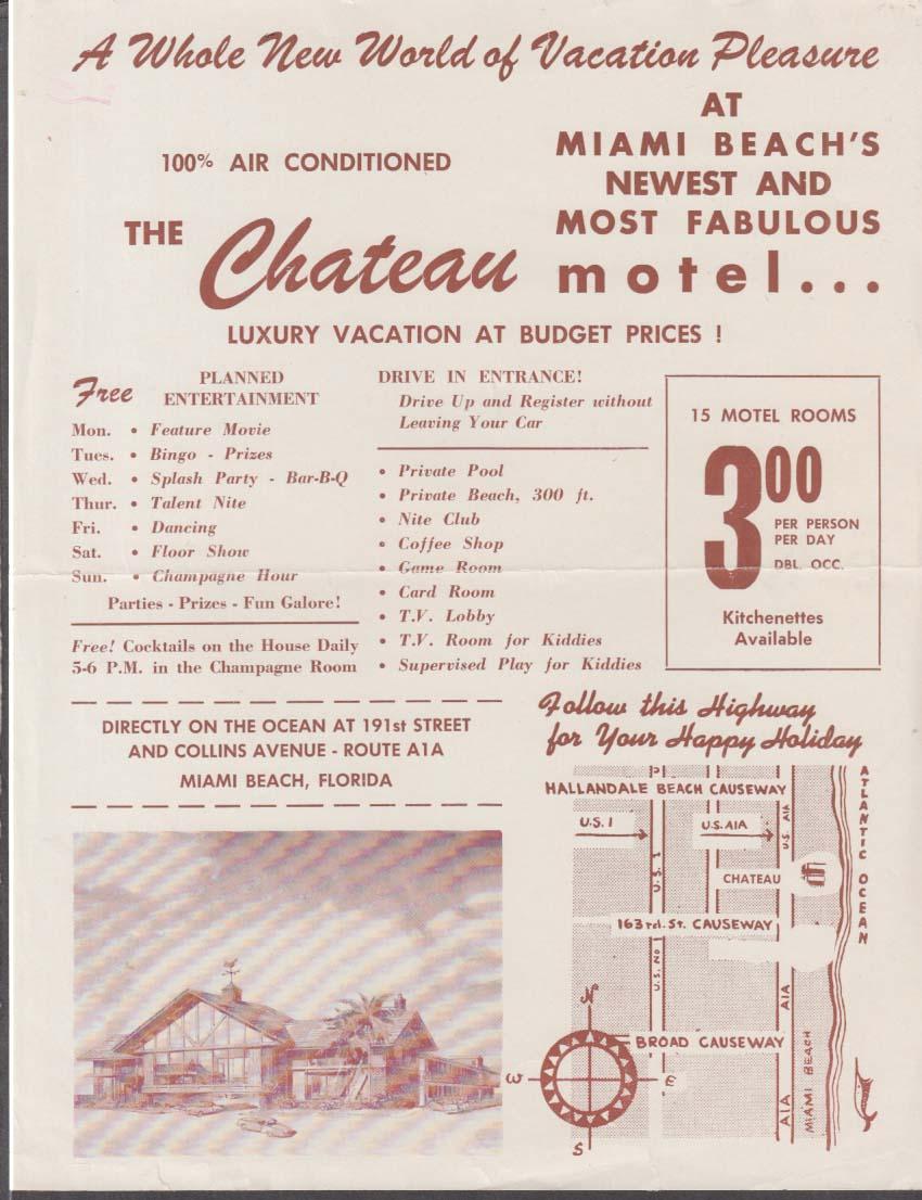 Chateau Motel Miami Beach FL flyer 1950s 191st & Collins Ave Rte A1A
