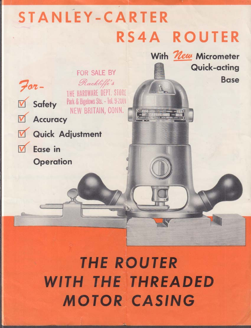 Stanley-Carter RS4A Electric Router sales folder 1950s