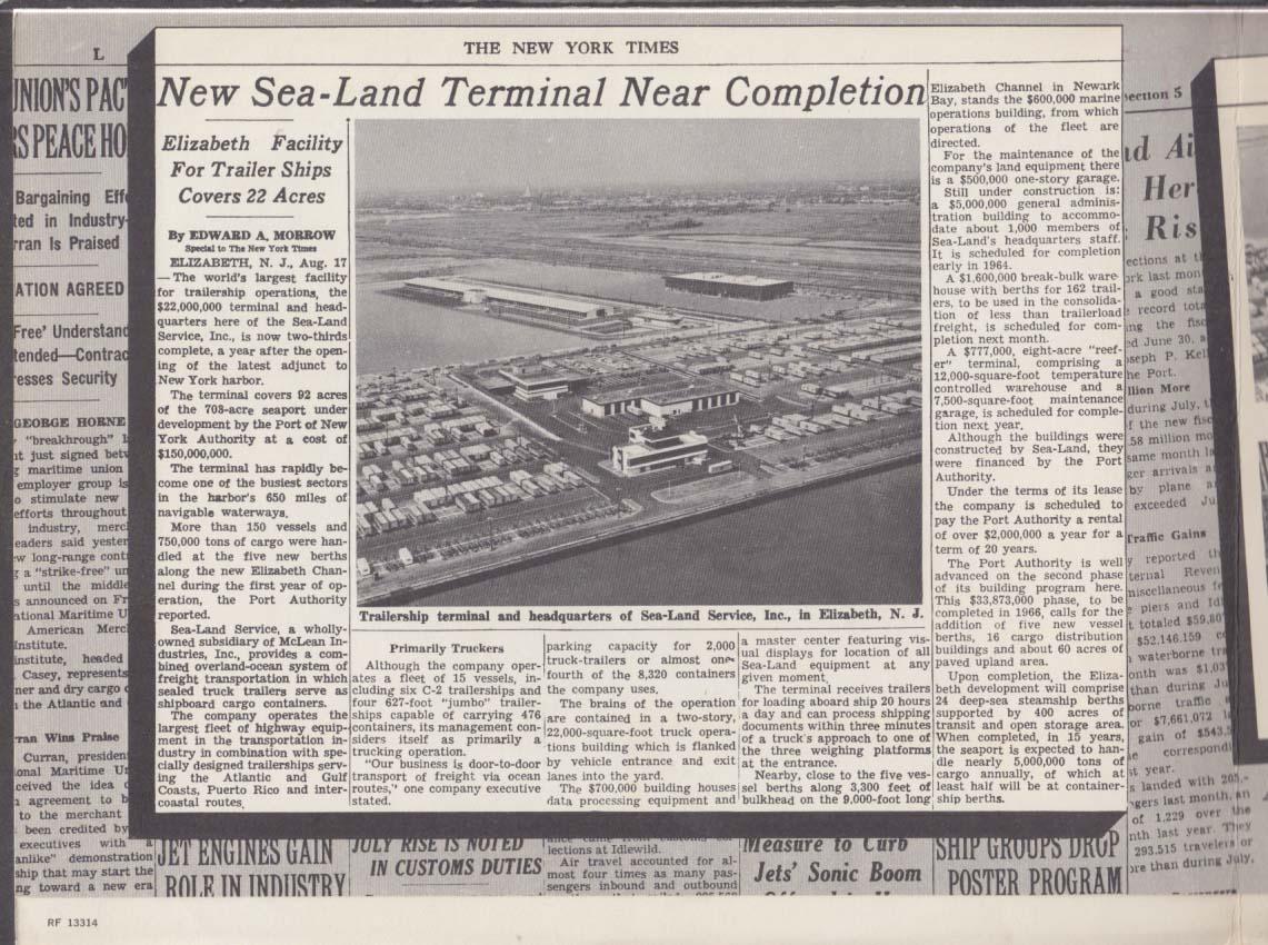 Sea-Land Shipping Terminal Elizabeth NJ sales folder 1963