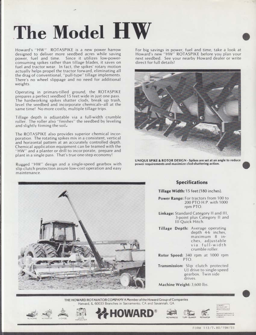 Howard Rotavator HW Rotaspike Secondary Tillage for Tractors sell sheet 1980