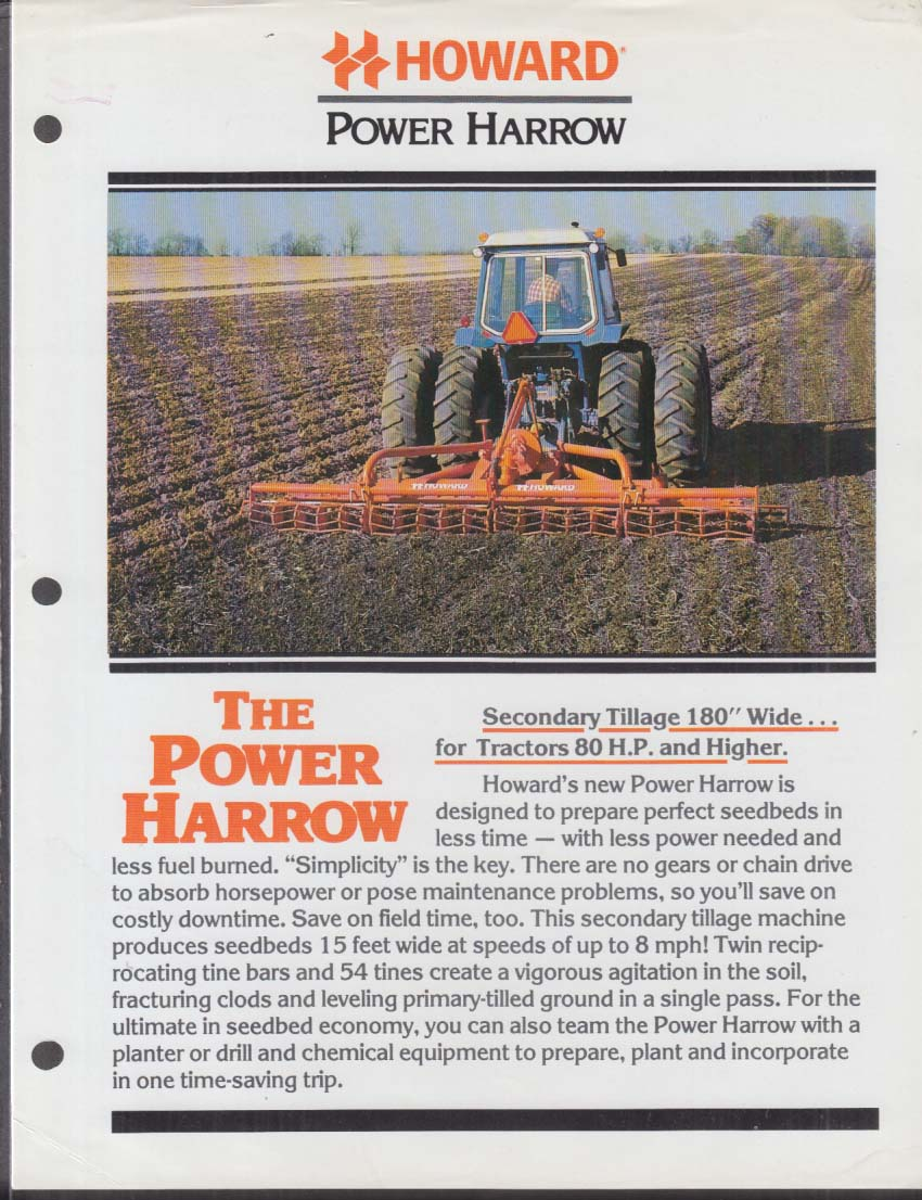 Howard Rotavator Power Harrow Secondary Tillage for Tractors sell sheet 1981