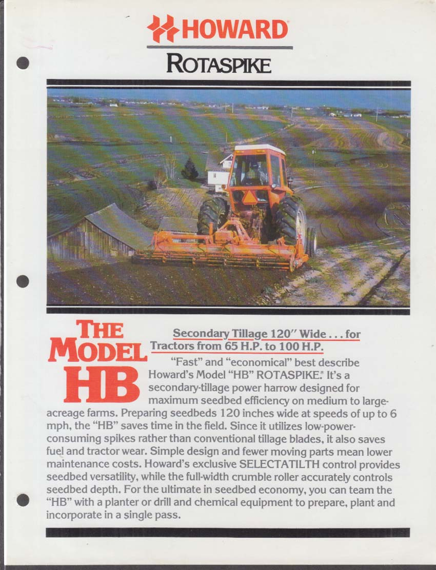 Howard Rotavator Model HB Rotaspike Secondary Tillage Tractors sell sheet 1980
