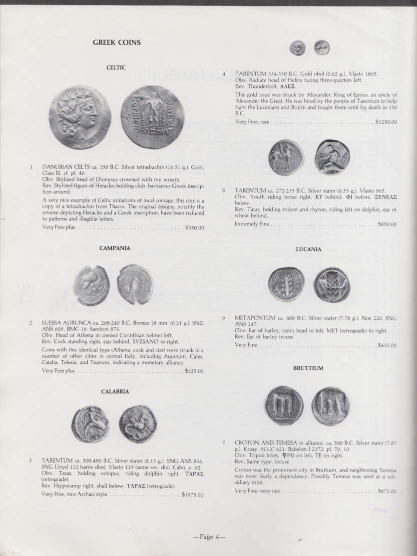 Bowers & Ruddy Galleries Ancient Coins Price List Fall 1980
